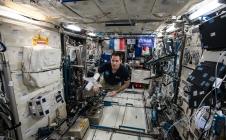 Thomas Pesquet réalisant Télescope intérieur d'Eduardo Kac dans l'ISS